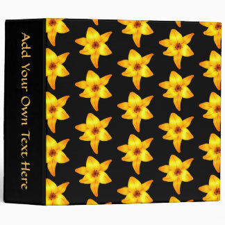 Pattern of Yellow Lilies on Black. Binder