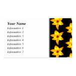 Pattern of Yellow Lilies on Black. Business Card Template