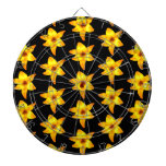 Pattern of Yellow Lilies on Black. Dartboard With Darts