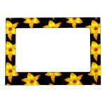 Pattern of Yellow Lilies on Black. Magnetic Picture Frame