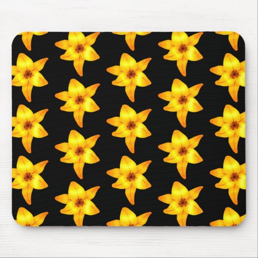 Pattern of Yellow Lilies on Black. Mousepads