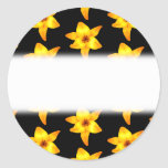 Pattern of Yellow Lilies on Black. Round Stickers