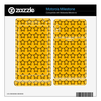 Pattern: Orange Background with Black Stars Motorola Milestone Skin