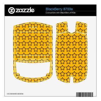 Pattern Orange Background with Black Stars BlackBerry Decal