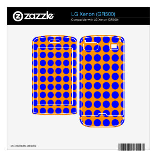 Pattern Orange Background with Blue Circles Skin For LG Xenon