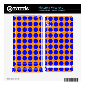 Pattern: Orange Background with Blue Circles Motorola Milestone Skins
