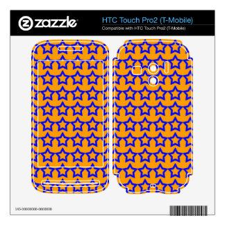 Pattern Orange Background with Blue Stars HTC Touch Pro2 Skin