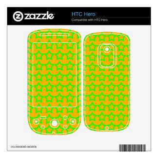 Pattern Orange Background with Green Stars HTC Hero Skins