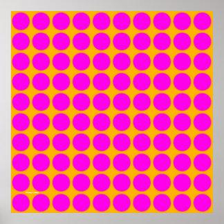 Pattern: Orange Background with Pink Circles Print