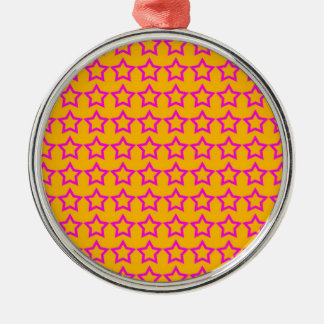 Pattern: Orange Background with Pink Stars Metal Ornament