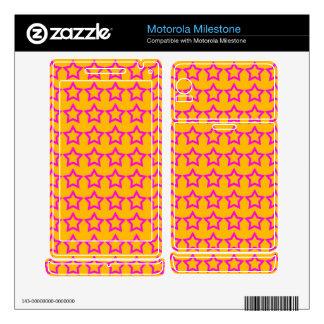 Pattern: Orange Background with Pink Stars Motorola Milestone Skins