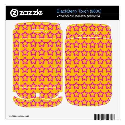 Pattern: Orange Background with Pink Stars Skin For BlackBerry