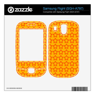 Pattern Orange Background with Red Stars Decals For Samsung Flight