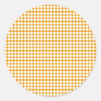 Pattern: Orange Background with White Circles Classic Round Sticker