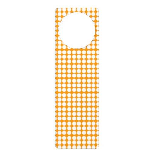 Pattern: Orange Background with White Circles Door Knob Hanger