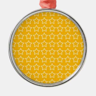 Pattern: Orange Background with White Stars Metal Ornament