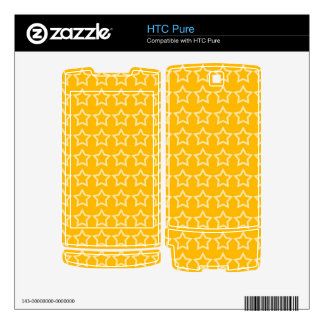 Pattern: Orange Background with White Stars Skins For The HTC Pure