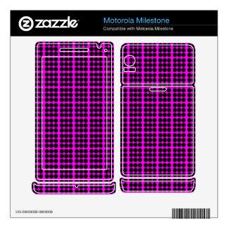 Pattern: Pink Background with Black Circles Motorola Milestone Skins