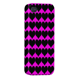 Pattern: Pink Background with Black Hearts Cover For iPhone 4