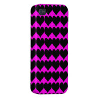 Pattern: Pink Background with Black Hearts iPhone 4/4S Cases