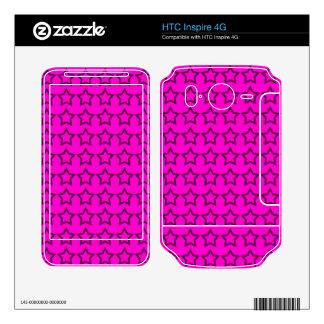 Pattern Pink Background with Black Stars HTC Inspire 4G Skin