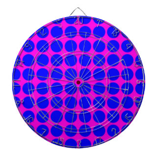 Pattern: Pink Background with Blue Circles Dart Board