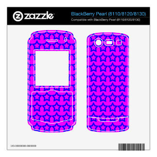 Pattern Pink Background with Blue Stars Skin For BlackBerry