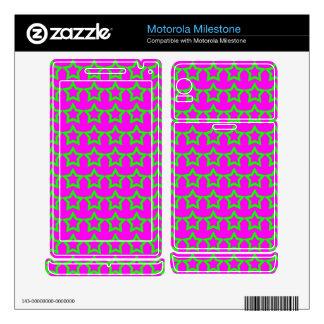 Pattern: Pink Background with Green Stars Motorola Milestone Decals