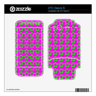 Pattern Pink Background with Green Stars HTC Desire S Skins