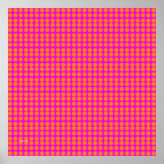 Pattern: Pink Background with Orange Circles Poster