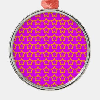 Pattern: Pink Background with Orange Stars Metal Ornament