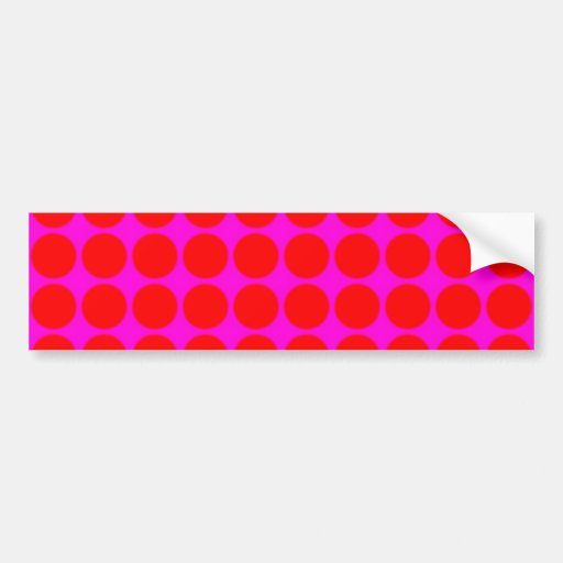 Pattern: Pink Background with Red Circles Bumper Stickers