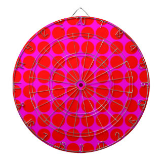 Pattern: Pink Background with Red Circles Dartboard With Darts
