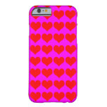 Pattern: Pink Background with Red Hearts iPhone 6 Case