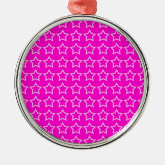 Pattern: Pink Background with White Stars Metal Ornament