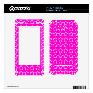Pattern Pink Background with White Stars Decal For HTC 7 Trophy