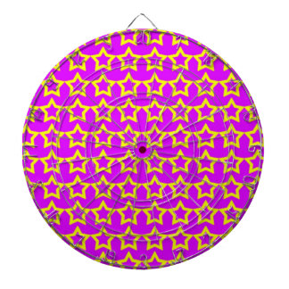Pattern: Pink Background with Yellow Stars Dartboard With Darts
