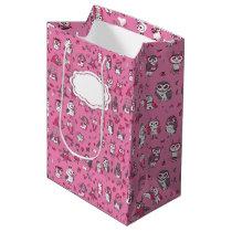 Pattern pink owls medium gift bag