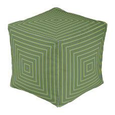 Pattern Pouf-Home Decor-Green/Gold/Blue Pouf