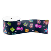 Pattern rainbow owls grosgrain ribbon
