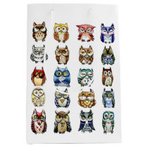 Pattern rainbow owls watercolor medium gift bag