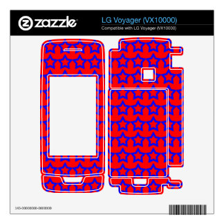 Pattern Red Background with Blue Stars LG Voyager Skins