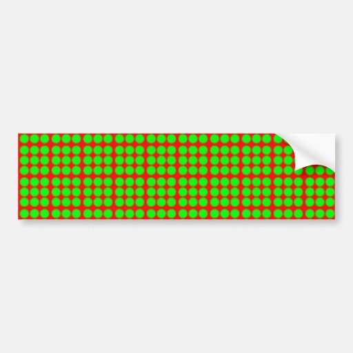 Pattern: Red Background with Green Circles Bumper Stickers