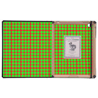 Pattern: Red Background with Green Circles Case For iPad