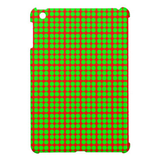 Pattern: Red Background with Green Circles iPad Mini Cases