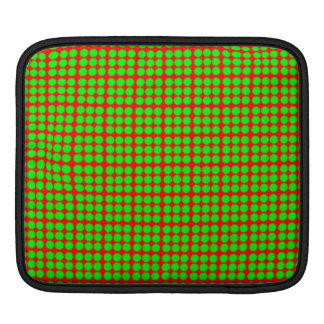 Pattern: Red Background with Green Circles Sleeves For iPads