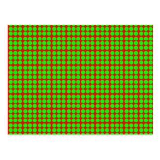 Pattern: Red Background with Green Circles Postcard