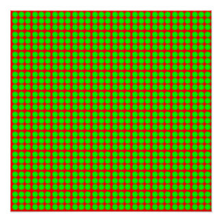 Pattern: Red Background with Green Circles Poster