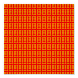 Pattern: Red Background with Orange Circles Poster