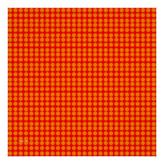 Pattern: Red Background with Orange Circles Print